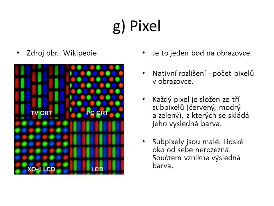 g) Pixel Zdroj obr.: Wikipedie Je to jeden bod na obrazovce.