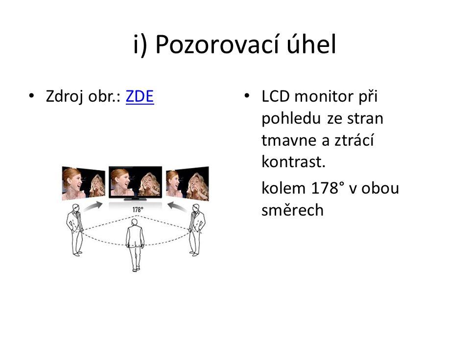 i) Pozorovací úhel Zdroj obr.: ZDEZDE LCD monitor při pohledu ze stran tmavne a ztrácí kontrast.