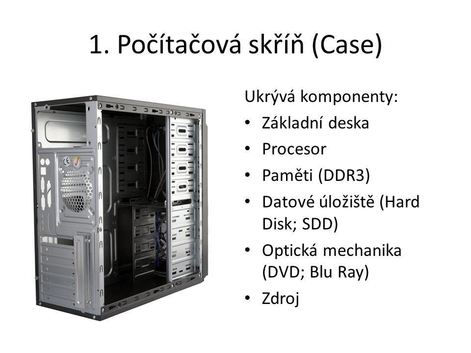 1. Počítačová skříň (Case) Ukrývá komponenty: Základní deska Procesor Paměti (DDR3) Datové úložiště (Hard Disk; SDD) Optická mechanika (DVD; Blu Ray)