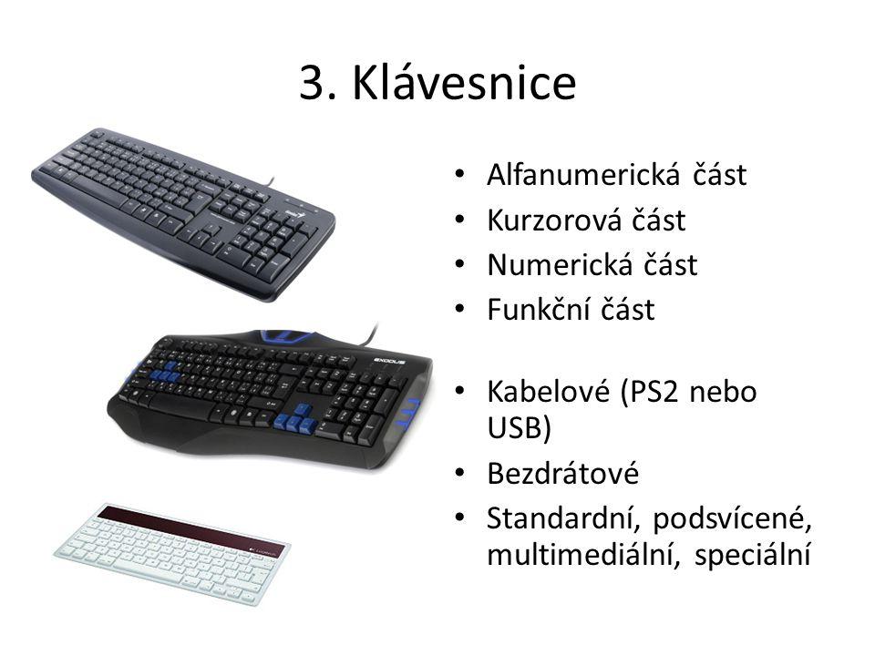 3. Klávesnice Alfanumerická část Kurzorová část Numerická část Funkční část Kabelové (PS2 nebo USB) Bezdrátové Standardní, podsvícené, multimediální,