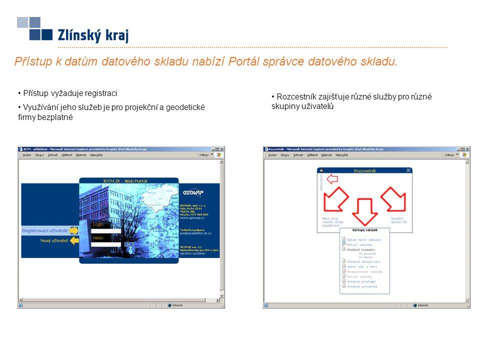 Přístup vyžaduje registraci Využívání jeho služeb je pro projekční a geodetické firmy bezplatné Přístup k datům datového skladu nabízí Portál správce