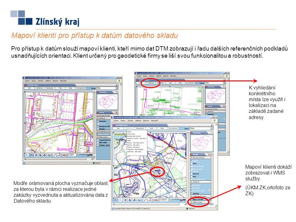 Modře orámovaná plocha vyznačuje oblast, za kterou byla v rámci realizace jedné zakázky vyzvednuta a aktualizována data z Datového skladu. Pro přístup
