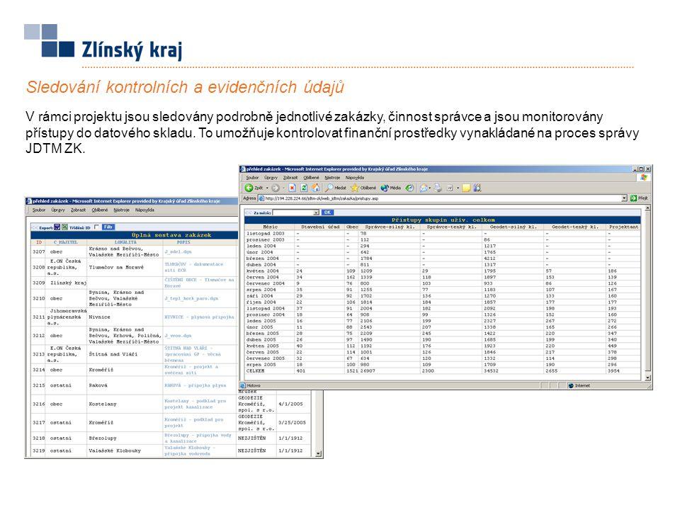 Sledování kontrolních a evidenčních údajů V rámci projektu jsou sledovány podrobně jednotlivé zakázky, činnost správce a jsou monitorovány přístupy do datového skladu.