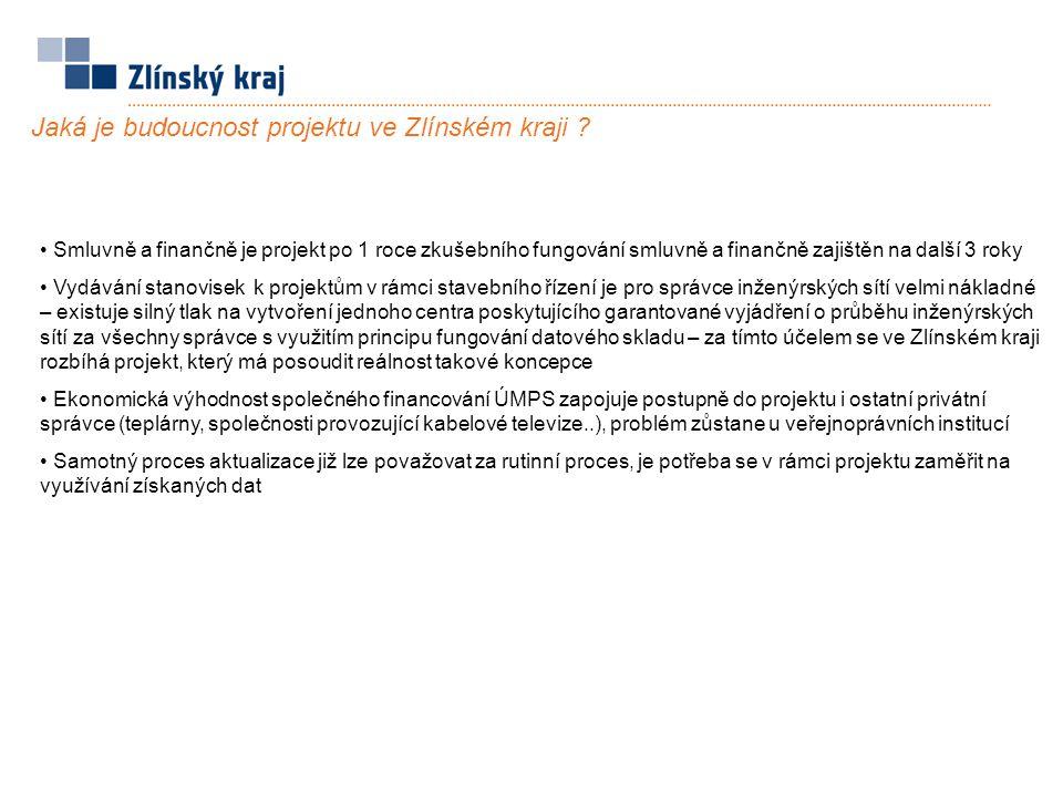 Jaká je budoucnost projektu ve Zlínském kraji ? Smluvně a finančně je projekt po 1 roce zkušebního fungování smluvně a finančně zajištěn na další 3 ro