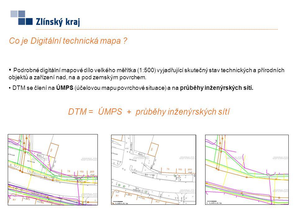 Co je Digitální technická mapa ? Podrobné digitální mapové dílo velkého měřítka (1:500) vyjadřující skutečný stav technických a přírodních objektů a z