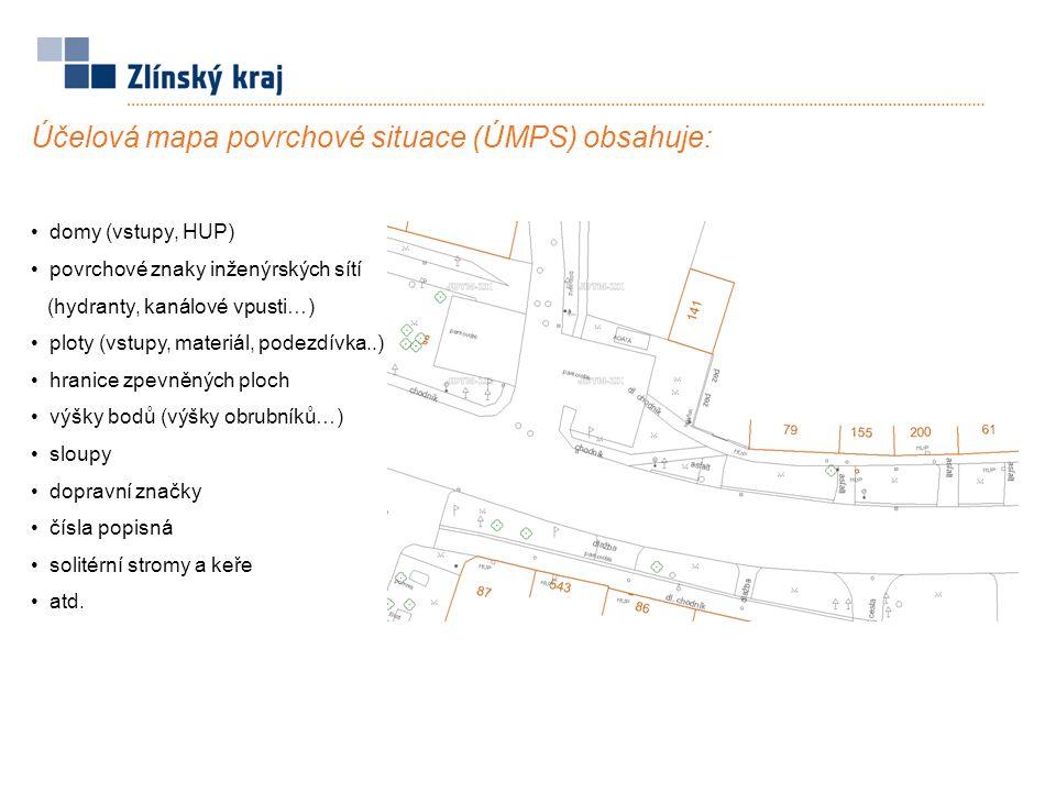 Účelová mapa povrchové situace (ÚMPS) obsahuje: domy (vstupy, HUP) povrchové znaky inženýrských sítí (hydranty, kanálové vpusti…) ploty (vstupy, mater