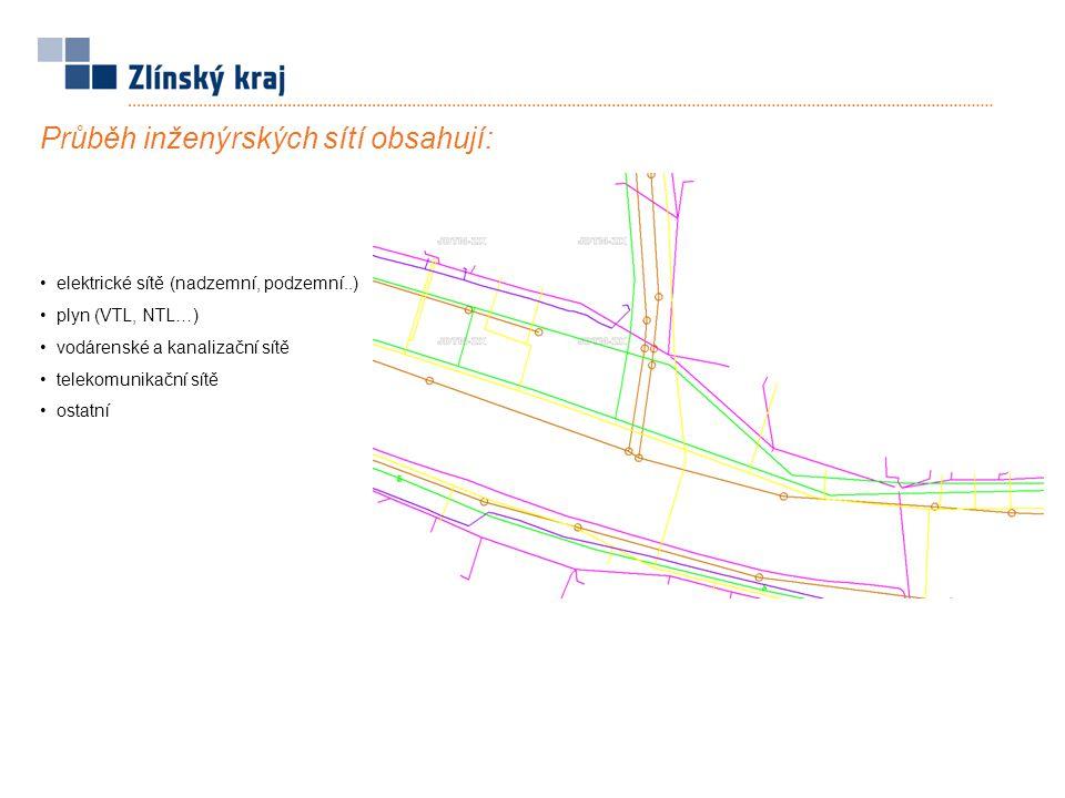 Průběh inženýrských sítí obsahují: elektrické sítě (nadzemní, podzemní..) plyn (VTL, NTL…) vodárenské a kanalizační sítě telekomunikační sítě ostatní