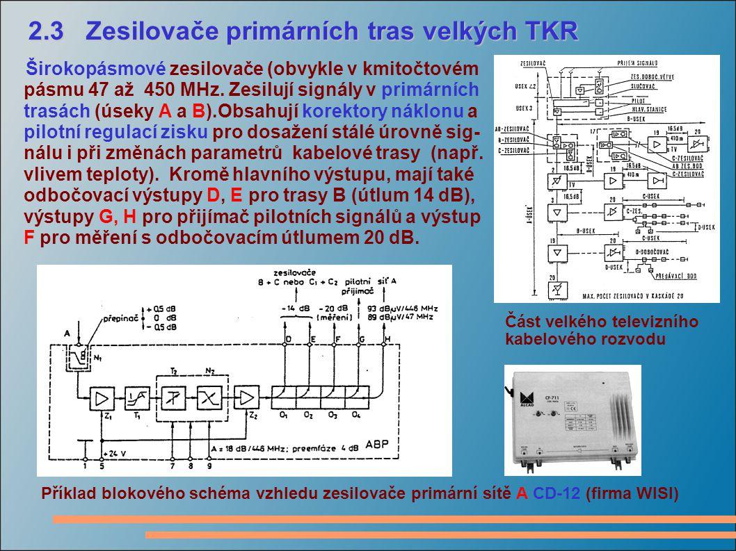 2.3 Zesilovače primárních tras velkých TKR 2.3 Zesilovače primárních tras velkých TKR Širokopásmové zesilovače (obvykle v kmitočtovém pásmu 47 až 450