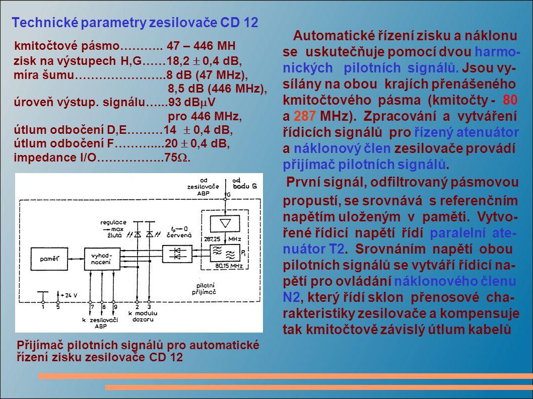 Technické parametry zesilovače CD 12 kmitočtové pásmo……….. 47 – 446 MH zisk na výstupech H,G……18,2  0,4 dB, míra šumu…………………..8 dB (47 MHz), 8,5 dB (