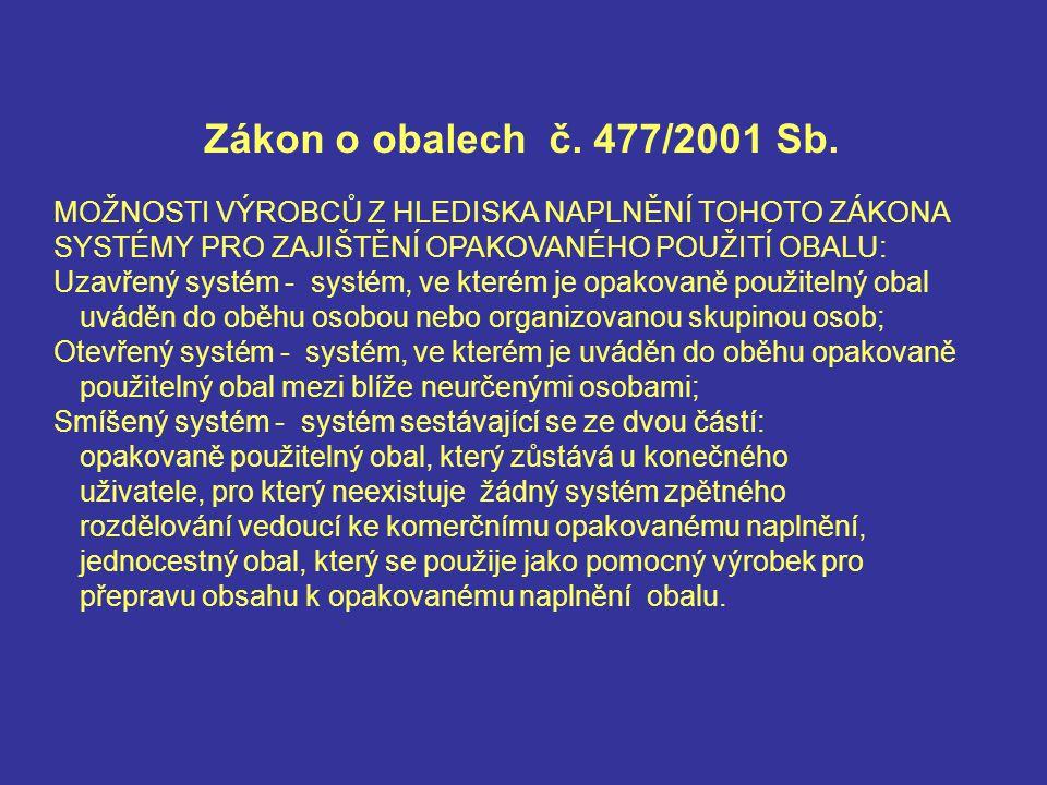 Zákon o obalech č. 477/2001 Sb.