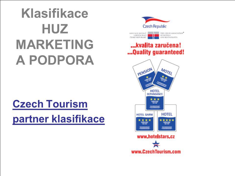 www.hotelstars.cz MARKETING A PODPORA Webové stránky www.hotelstars.czwww.hotelstars.cz –www.czechtourism.comwww.czechtourism.com –www.czechtourism.czwww.czechtourism.cz –www.visiteurope.comwww.visiteurope.com –www.hotrec.orgwww.hotrec.org Propojení s dalšími servery v EU