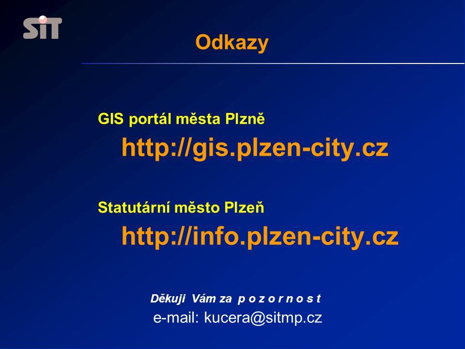 Odkazy GIS portál města Plzně http://gis.plzen-city.cz Statutární město Plzeň http://info.plzen-city.cz Děkuji Vám za p o z o r n o s t e-mail: kucera@sitmp.cz