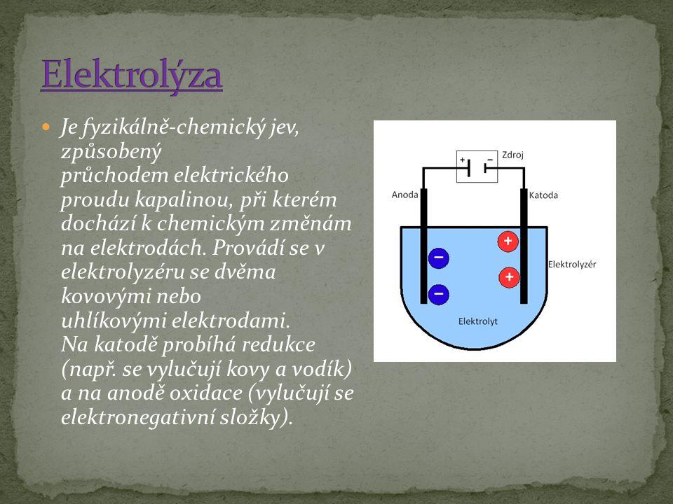 Je fyzikálně-chemický jev, způsobený průchodem elektrického proudu kapalinou, při kterém dochází k chemickým změnám na elektrodách. Provádí se v elekt