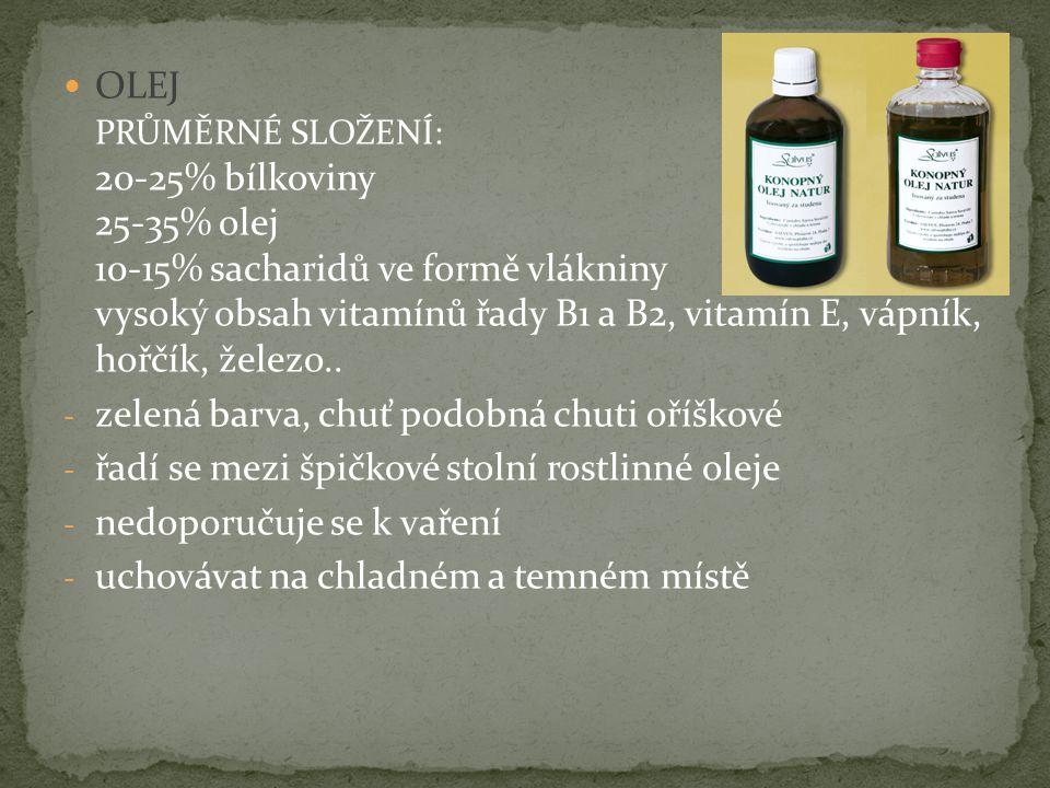 OLEJ PRŮMĚRNÉ SLOŽENÍ: 20-25% bílkoviny 25-35% olej 10-15% sacharidů ve formě vlákniny vysoký obsah vitamínů řady B1 a B2, vitamín E, vápník, hořčík,