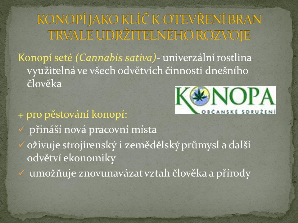Konopí seté (Cannabis sativa)- univerzální rostlina využitelná ve všech odvětvích činnosti dnešního člověka + pro pěstování konopí: přináší nová praco