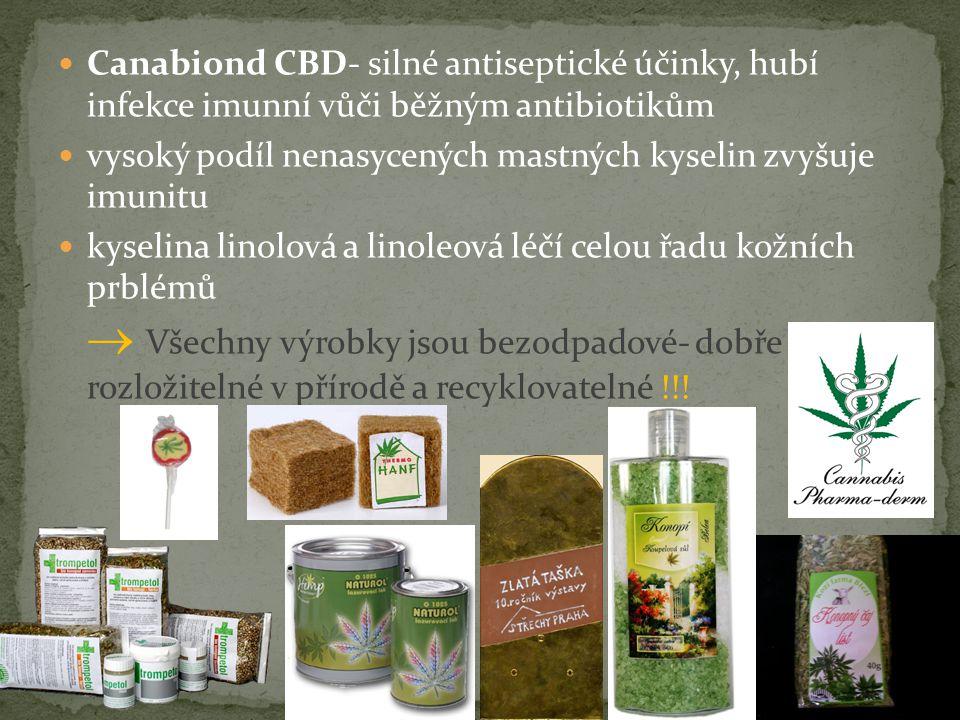 Canabiond CBD- silné antiseptické účinky, hubí infekce imunní vůči běžným antibiotikům vysoký podíl nenasycených mastných kyselin zvyšuje imunitu kyselina linolová a linoleová léčí celou řadu kožních prblémů  Všechny výrobky jsou bezodpadové- dobře rozložitelné v přírodě a recyklovatelné !!!
