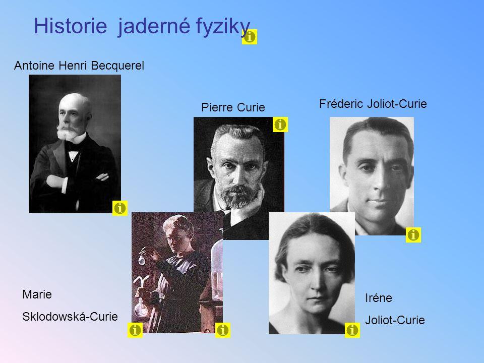 Antoine Henri Becquerel Historie jaderné fyziky Pierre Curie Iréne Joliot-Curie Marie Sklodowská-Curie Fréderic Joliot-Curie