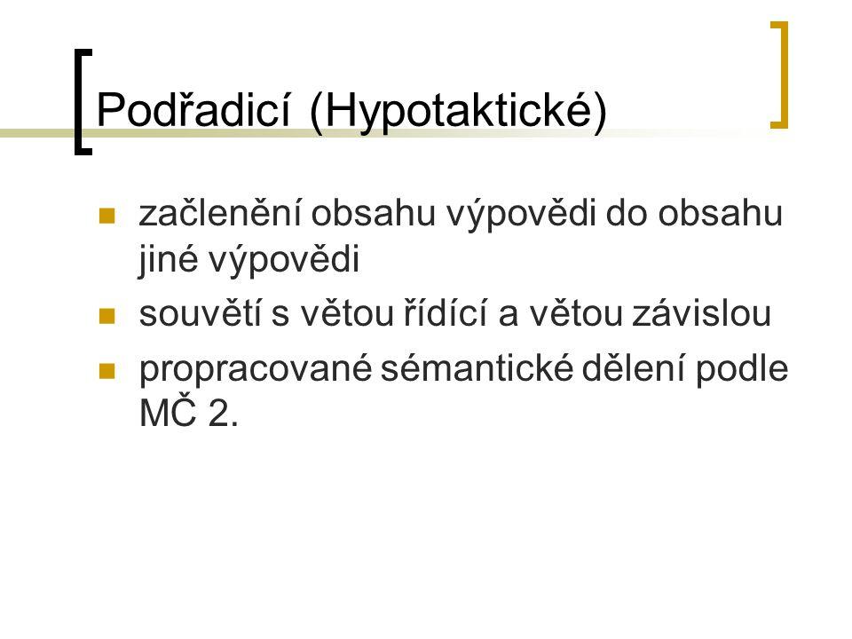 Podřadicí (Hypotaktické) začlenění obsahu výpovědi do obsahu jiné výpovědi souvětí s větou řídící a větou závislou propracované sémantické dělení podle MČ 2.