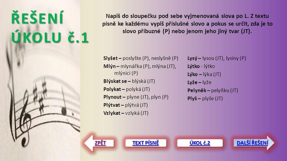 ŘEŠENÍ ÚKOLU č.1 Slyšet – poslyšte (P), neslyšně (P) Mlýn – mlynářka (P), mlýna (JT), mlýnici (P) Blýskat se – blýská (JT) Polykat – polyká (JT) Plyno