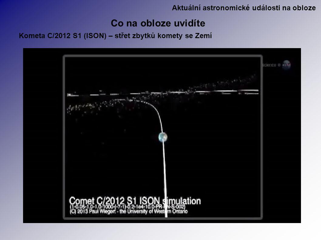 Aktuální astronomické události na obloze Co na obloze uvidíte Kometa C/2012 S1 (ISON) – střet zbytků komety se Zemí