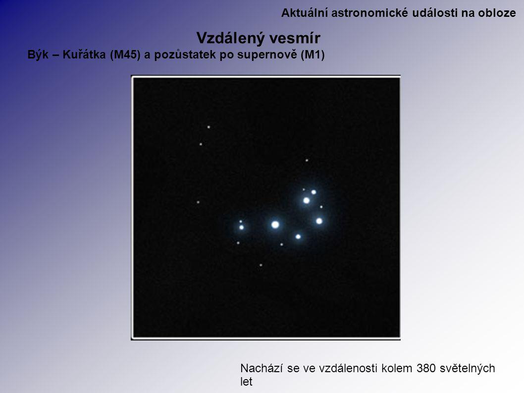 Aktuální astronomické události na obloze Vzdálený vesmír Býk – Kuřátka (M45) a pozůstatek po supernově (M1) Nachází se ve vzdálenosti kolem 380 světelných let