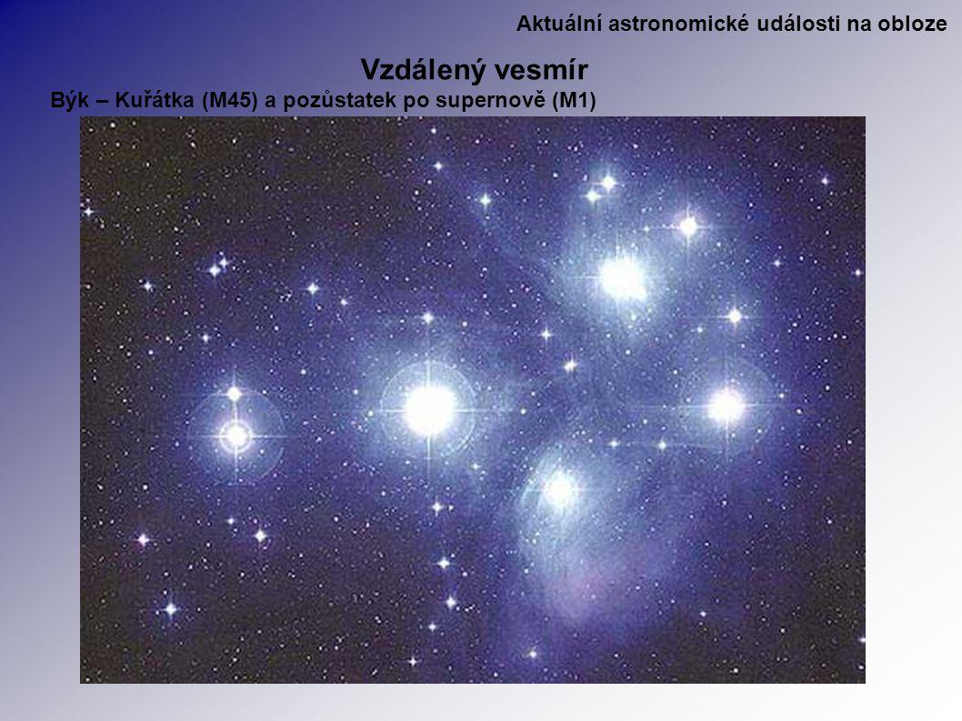Aktuální astronomické události na obloze Vzdálený vesmír Býk – Kuřátka (M45) a pozůstatek po supernově (M1)