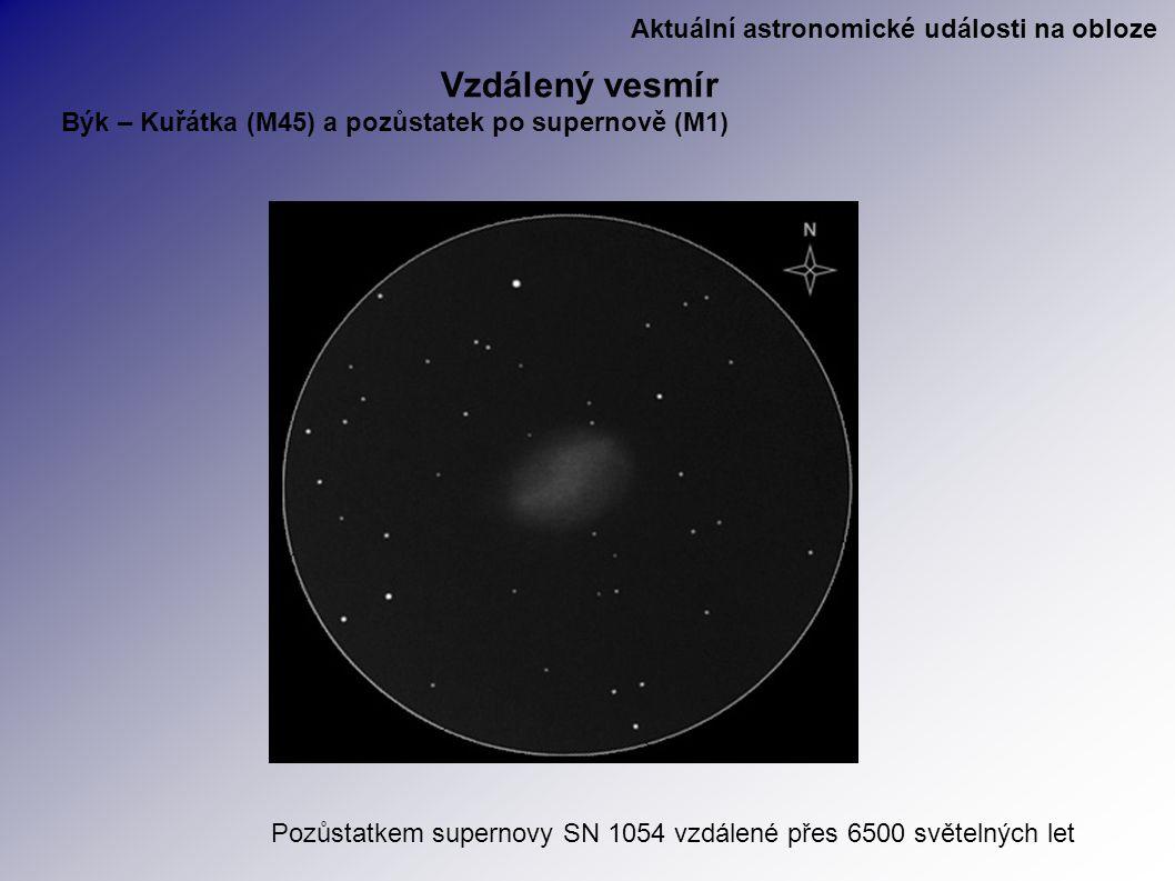 Aktuální astronomické události na obloze Vzdálený vesmír Býk – Kuřátka (M45) a pozůstatek po supernově (M1) Pozůstatkem supernovy SN 1054 vzdálené přes 6500 světelných let