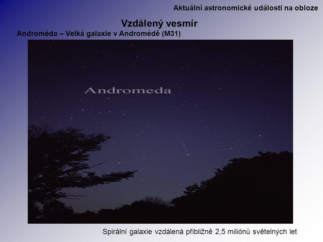 Aktuální astronomické události na obloze Vzdálený vesmír Androméda – Velká galaxie v Andromédě (M31) Spirální galaxie vzdálená přibližně 2,5 miliónů světelných let