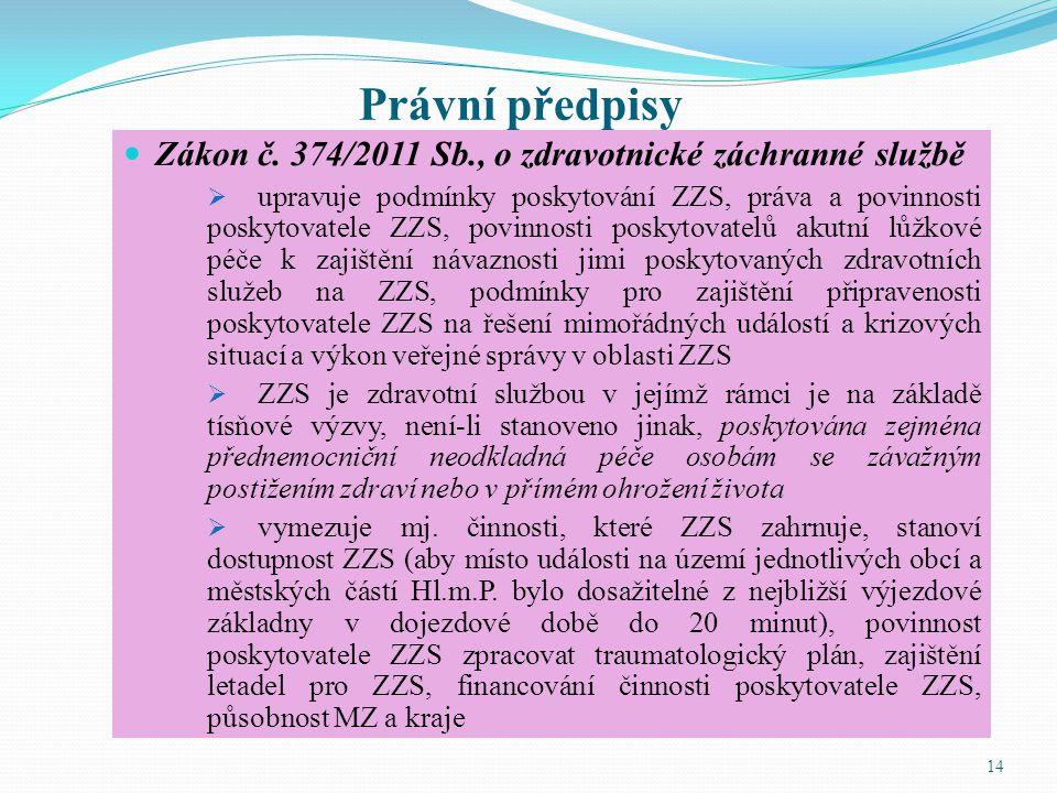 Právní předpisy Zákon č. 374/2011 Sb., o zdravotnické záchranné službě  upravuje podmínky poskytování ZZS, práva a povinnosti poskytovatele ZZS, povi