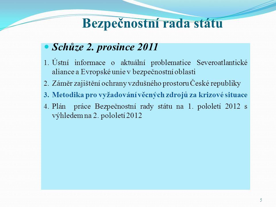 Bezpečnostní rada státu Schůze 2. prosince 2011 1. Ústní informace o aktuální problematice Severoatlantické aliance a Evropské unie v bezpečnostní obl
