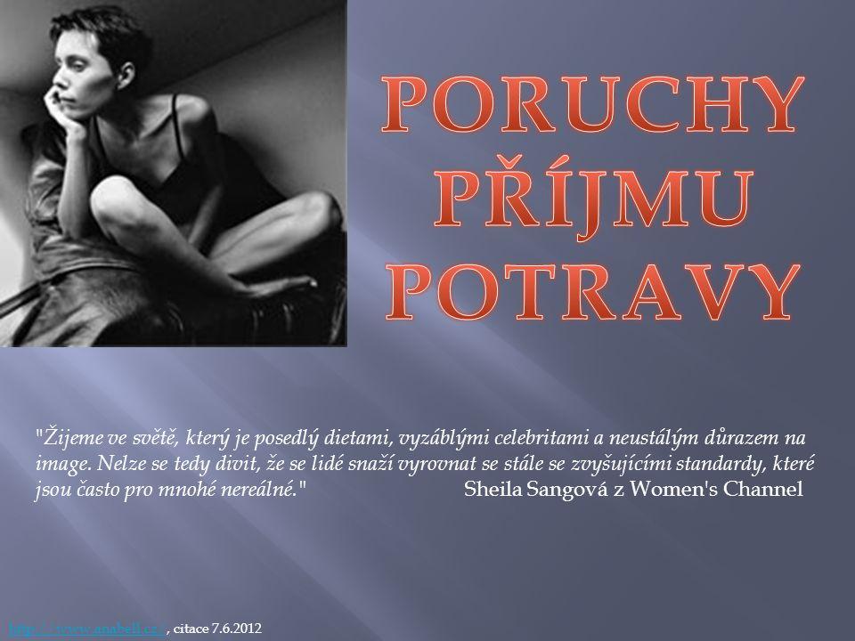 http://www.anabell.cz/http://www.anabell.cz/, citace 7.6.2012 Žijeme ve světě, který je posedlý dietami, vyzáblými celebritami a neustálým důrazem na image.