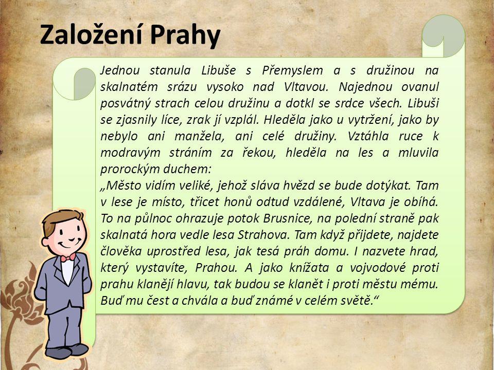 Libuše věští slávu Prahy: Město vidím veliké, jehož sláva hvězd se bude dotýkat. Obrázek 3: Libuše[3]