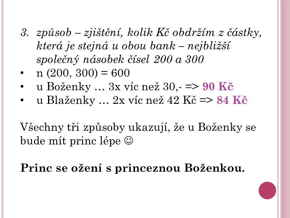3. způsob – zjištění, kolik Kč obdržím z částky, která je stejná u obou bank – nejbližší společný násobek čísel 200 a 300 n (200, 300) = 600 u Boženky