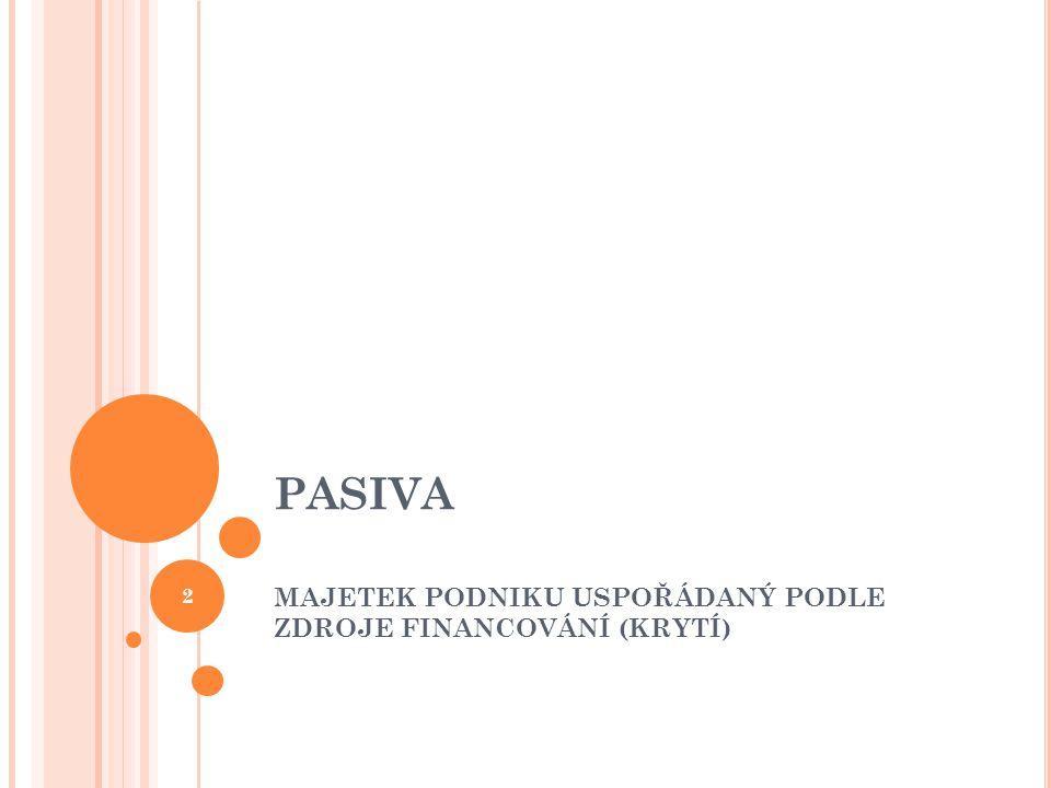 PASIVA vyjadřují, jakým způsobem si podnik opatřil svůj majetek ( kde na to vzala peníze) 3
