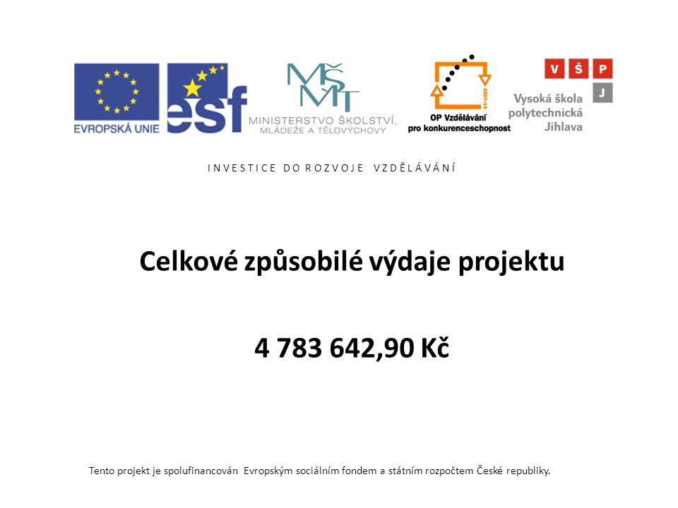 I N V E S T I C E D O R O Z V O J E V Z D Ě L Á V Á N Í Celkové způsobilé výdaje projektu 4 783 642,90 Kč Tento projekt je spolufinancován Evropským sociálním fondem a státním rozpočtem České republiky.