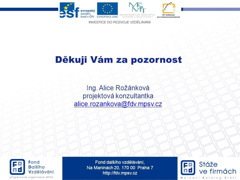 Fond dalšího vzdělávání, Na Maninách 20, 170 00 Praha 7 http://fdv.mpsv.cz Děkuji Vám za pozornost Ing.