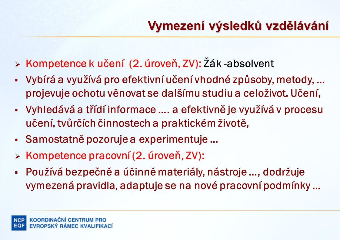 Vymezení výsledků vzdělávání 3.