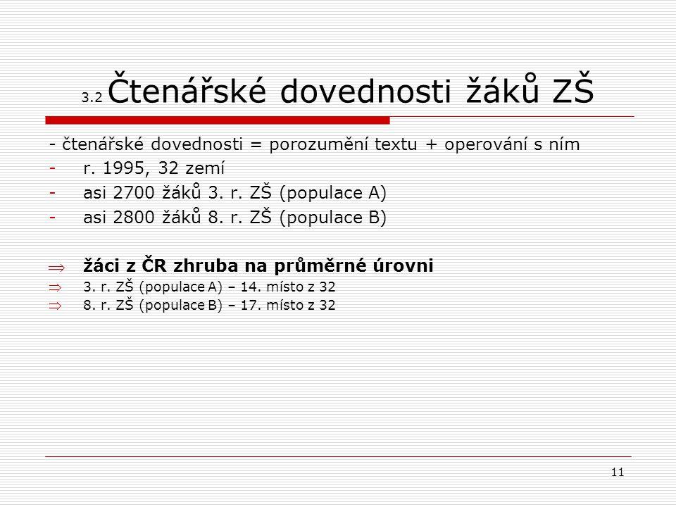 11 3.2 Čtenářské dovednosti žáků ZŠ - čtenářské dovednosti = porozumění textu + operování s ním -r. 1995, 32 zemí -asi 2700 žáků 3. r. ZŠ (populace A)