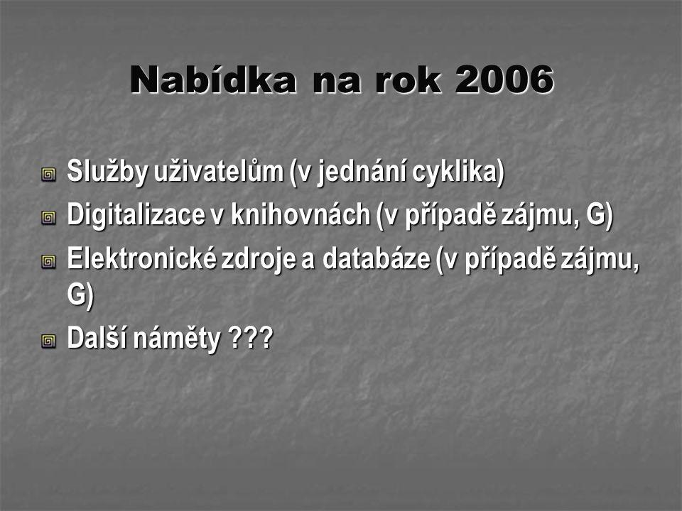 Nabídka na rok 2006 Služby uživatelům (v jednání cyklika) Digitalizace v knihovnách (v případě zájmu, G) Elektronické zdroje a databáze (v případě záj