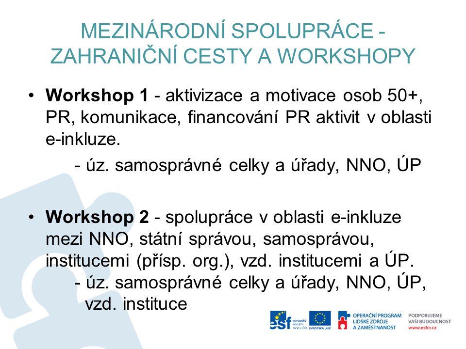 MEZINÁRODNÍ SPOLUPRÁCE - ZAHRANIČNÍ CESTY A WORKSHOPY Workshop 1 - aktivizace a motivace osob 50+, PR, komunikace, financování PR aktivit v oblasti e-