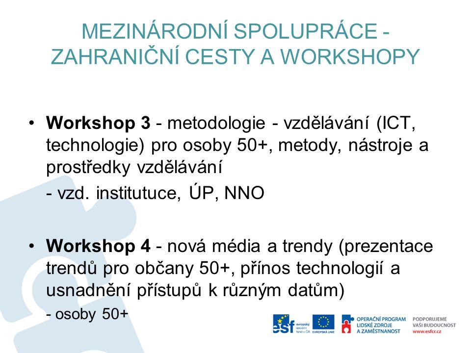 MEZINÁRODNÍ SPOLUPRÁCE - ZAHRANIČNÍ CESTY A WORKSHOPY Workshop 3 - metodologie - vzdělávání (ICT, technologie) pro osoby 50+, metody, nástroje a prostředky vzdělávání - vzd.