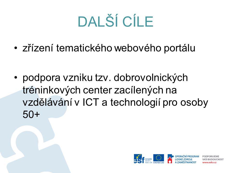 DALŠÍ CÍLE zřízení tematického webového portálu podpora vzniku tzv. dobrovolnických tréninkových center zacílených na vzdělávání v ICT a technologií p