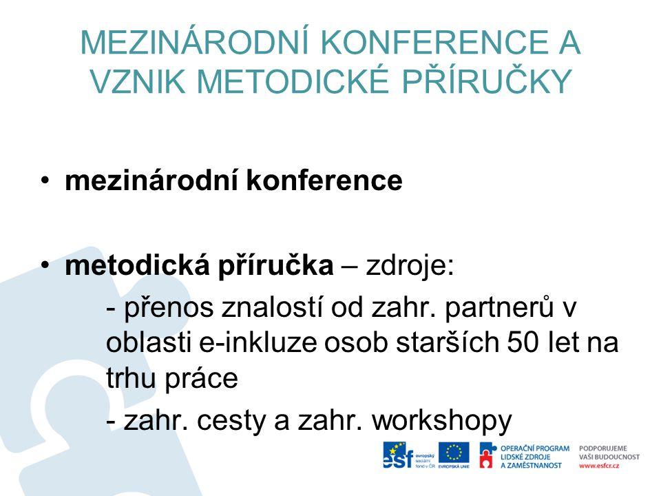 MEZINÁRODNÍ KONFERENCE A VZNIK METODICKÉ PŘÍRUČKY mezinárodní konference metodická příručka – zdroje: - přenos znalostí od zahr. partnerů v oblasti e-