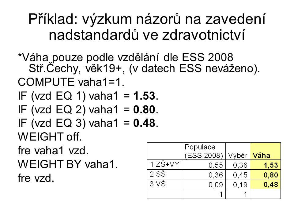 Příklad: výzkum názorů na zavedení nadstandardů ve zdravotnictví *Váha pouze podle vzdělání dle ESS 2008 Stř.Čechy, věk19+, (v datech ESS neváženo). C