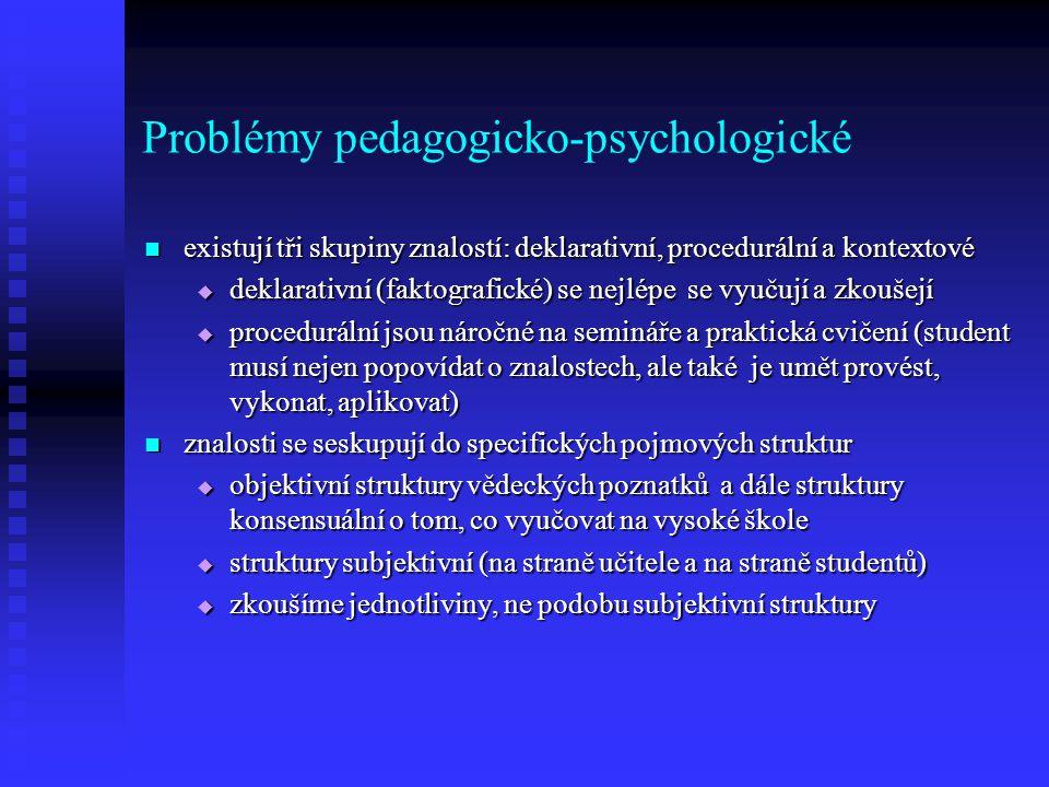 Problémy pedagogicko-psychologické existují tři skupiny znalostí: deklarativní, procedurální a kontextové existují tři skupiny znalostí: deklarativní, procedurální a kontextové  deklarativní (faktografické) se nejlépe se vyučují a zkoušejí  procedurální jsou náročné na semináře a praktická cvičení (student musí nejen popovídat o znalostech, ale také je umět provést, vykonat, aplikovat) znalosti se seskupují do specifických pojmových struktur znalosti se seskupují do specifických pojmových struktur  objektivní struktury vědeckých poznatků a dále struktury konsensuální o tom, co vyučovat na vysoké škole  struktury subjektivní (na straně učitele a na straně studentů)  zkoušíme jednotliviny, ne podobu subjektivní struktury