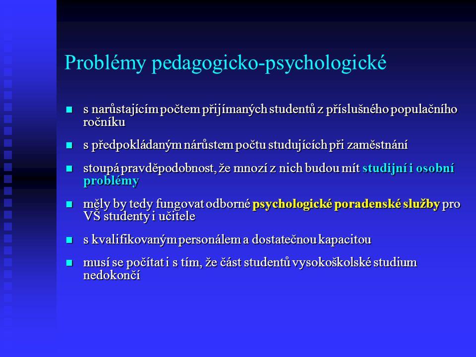 Problémy pedagogicko-psychologické s narůstajícím počtem přijímaných studentů z příslušného populačního ročníku s narůstajícím počtem přijímaných studentů z příslušného populačního ročníku s předpokládaným nárůstem počtu studujících při zaměstnání s předpokládaným nárůstem počtu studujících při zaměstnání stoupá pravděpodobnost, že mnozí z nich budou mít studijní i osobní problémy stoupá pravděpodobnost, že mnozí z nich budou mít studijní i osobní problémy měly by tedy fungovat odborné psychologické poradenské služby pro VŠ studenty i učitele měly by tedy fungovat odborné psychologické poradenské služby pro VŠ studenty i učitele s kvalifikovaným personálem a dostatečnou kapacitou s kvalifikovaným personálem a dostatečnou kapacitou musí se počítat i s tím, že část studentů vysokoškolské studium nedokončí musí se počítat i s tím, že část studentů vysokoškolské studium nedokončí