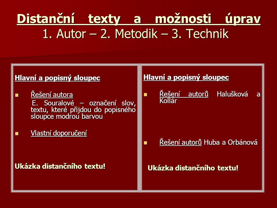 Distanční texty a možnosti úprav 1. Autor – 2. Metodik – 3.