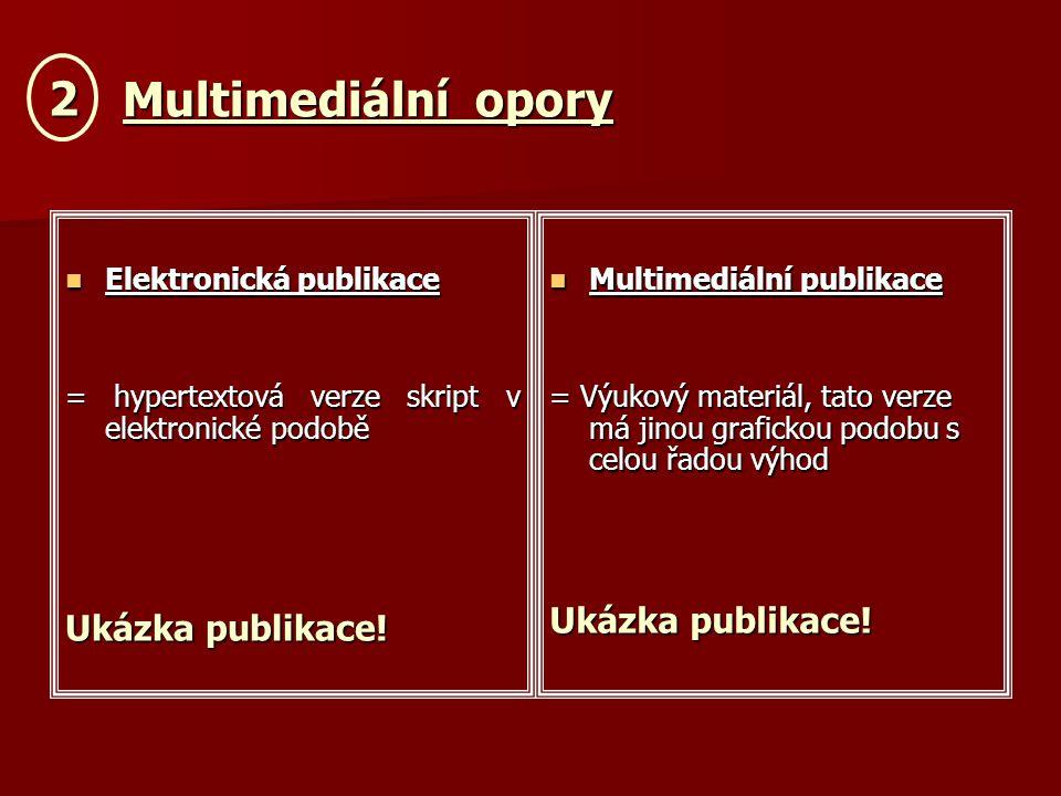 Multimediální opory Multimediální opory Elektronická publikace Elektronická publikace = hypertextová verze skript v elektronické podobě Ukázka publikace.
