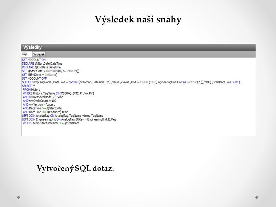 Vytvořený SQL dotaz. Výsledek naší snahy