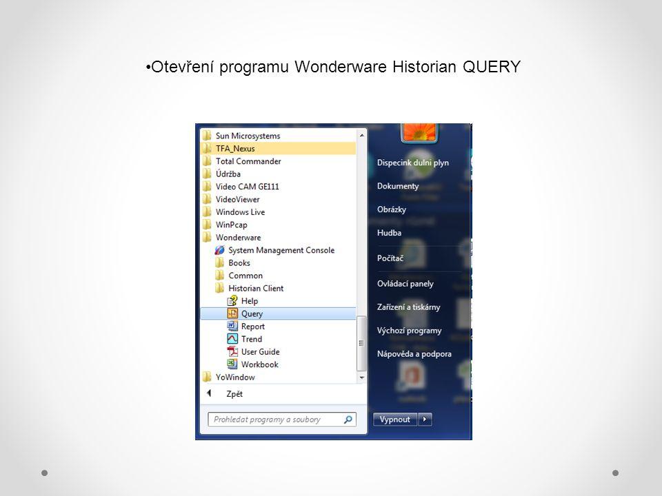 Otevření programu Wonderware Historian QUERY